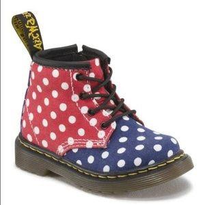 DOC MARTENS Brooklee colorblock polkadot boots